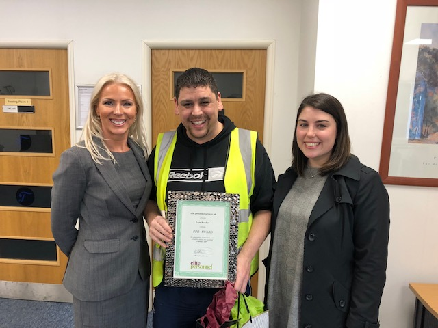 February 2019 Temporary Worker Award  Winner – Leon Kershaw